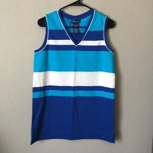 Catalina Ladies Blue White Striped Tank Top Small